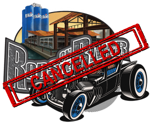 Cancelled stamp over Rods on the River Logo Featuring Black Hot Rod